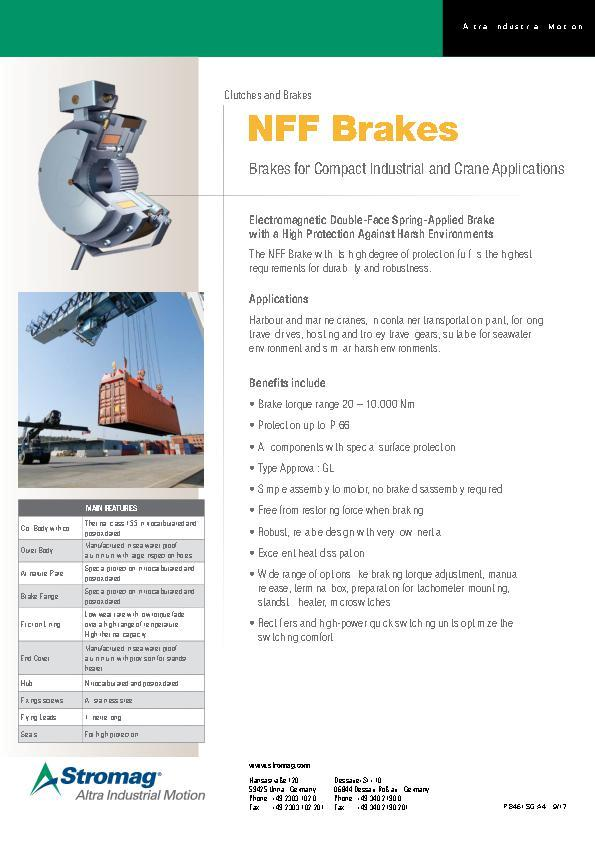 NFF Brakes for Compact Industrial and Crane Applications